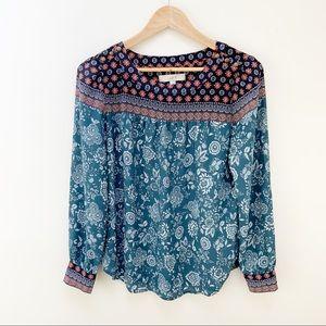 LOFT floral patterned long sleeves scoop neck S